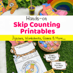 Pinterest image of skip counting game for first graders
